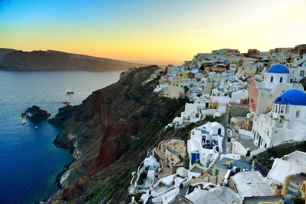 Aspaki sunset view in Santorini