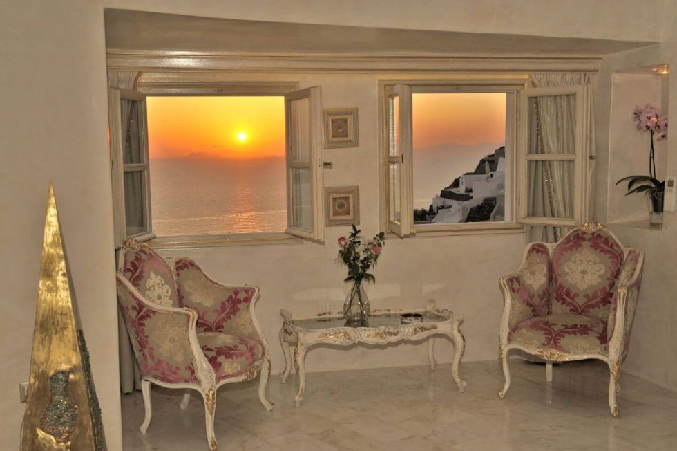 Bedroom view in Santorini