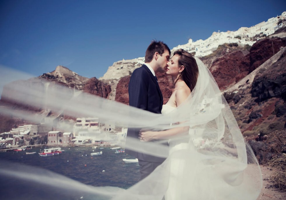 Bride and groom on Caldera