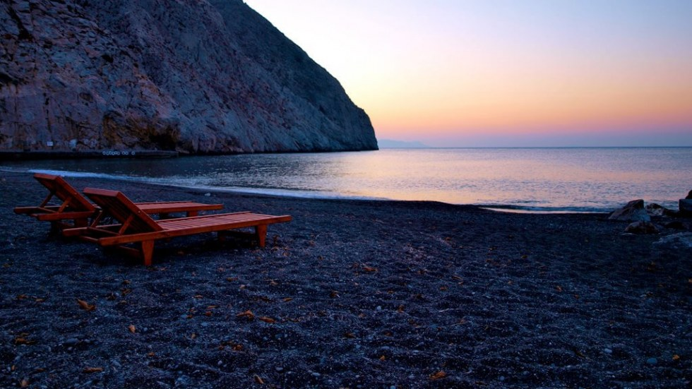 Black Beach in Santorini