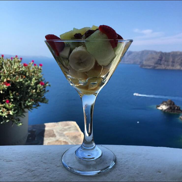 Fruits in glass in Santorini