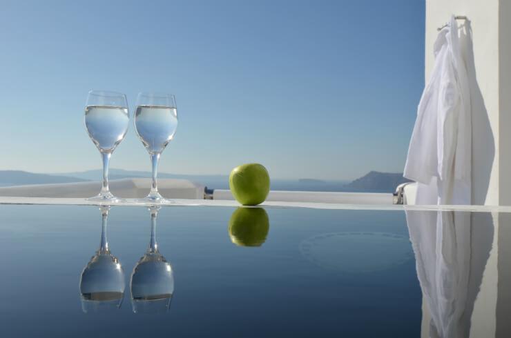Santorini pool glasses