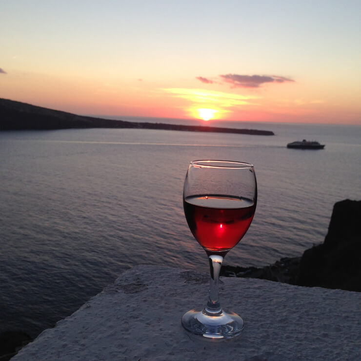 Santorini wine in sunset